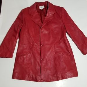 Nordstrom Leather Red Jacket Coat